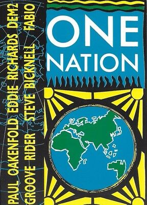 One Nation - Rave Flyer 1989 - Paul Oakenfold Grooverider Fabio Acid House RARE