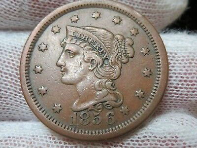 1856 Braided Hair U.S. Large Cent, Upright 5 and free shipping