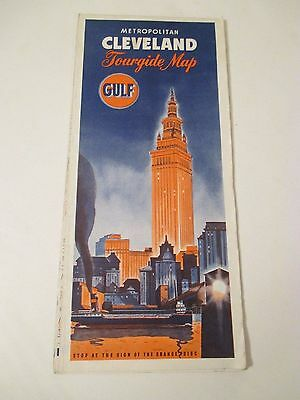 Vintage GULF Cleveland Ohio Tourguide MAP Gas Service Station Road Map