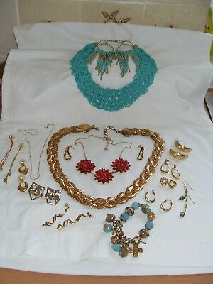 Job Lot Of Various Gold Tone/gold Plated Costume Jewellery,earrings,necklaces