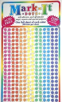 """Map Dot Stickers - Assorted Colors - 1/8"""" Diameter"""