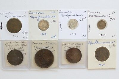 Assorted Canadian Coin Lot, Half Penny, 5 & 10 Cents, Large Cent 1864 to 1947