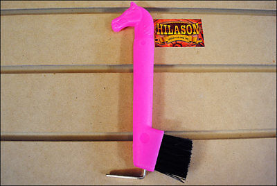 Hilason Show Horse Head Hoof Pick Brush With Hot Pink Handle