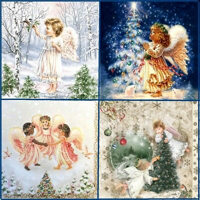 4 Different Single Paper Napkins Mix Designs Lunch, Decoupage Christmas Angels