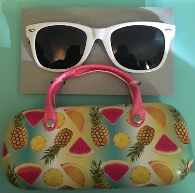 Kids Girls Sunglasses with Matching Hard Case New white tropical fruit new