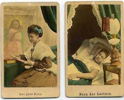 Beautiful Hand Colored- Two CDV's- The Good Book