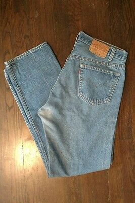 Vintage Levis 501xx Made in the USA Button Fly Light Blue Jeans Mens 33 x 32