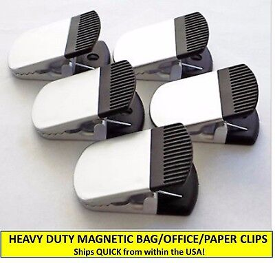 Set Of Five [5] Heavy Duty Silver/black Magnetic Bag Clips, Office/paper Clips