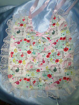 Pink Blue Multi Bird Adult Baby Sissy Bib Lace Trimmed Satin Ties Plastic Back