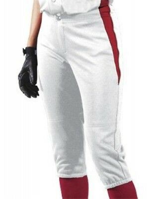 (Small, White/Scarlet/Scarlet) - Women's Changeup Softball Pant. Teamwork