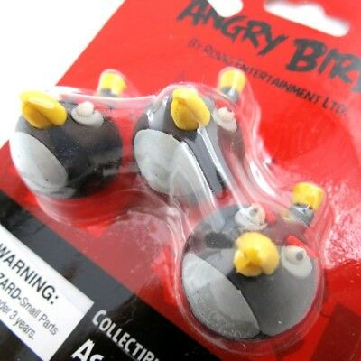Set of 3 rubbers 'Angry Birds'black.. Shipping Included