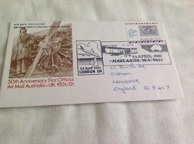 1981 50th Anniversary first airmail first to Australia  nice cover was £4