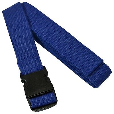 (Blue) - YogaAccessories Pinch Buckle Cotton Yoga Strap. Shipping Included
