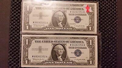 $1 Silver Certificates Consecutive Serial Numbers! 1957-B! Free Shipping!