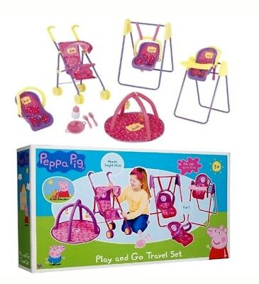 Peppa Pig Play and Go Travel Set Dolls Toy Swing Buggy Pram High Chair Gift Kids