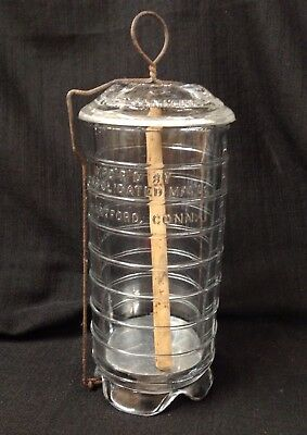 Vintage Glass Sanitary Ice Cream Freezer dated Feb. 14, 1899 Hartford, Conn USA