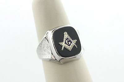 Sterling Silver & 10K Gold Onyx Masonic Freemason Fraternal Ring - Sz 7.5