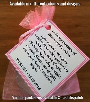 Personalised candle favour memorial funeral keepsake -memory bereavement loss