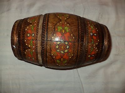 Unique Hand Made Painted Vintage Wooden Canteen Flask Keg Barrel -Wire Banded