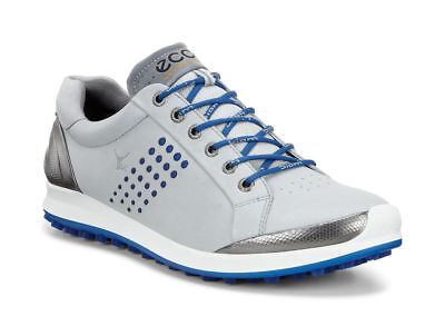 ECCO Mens BIOM HYBRID 2 Medium Golf Shoe Concrete/Royal