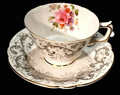 Beautiful Royal Crown Derby Grey Scroll Tea Cup And Saucer