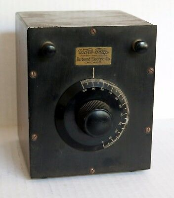 ANTIQUE WAVE TRAP:  TUNEABLE ACCESSORY FOR 1920s RADIO FERBEND CHICAGO