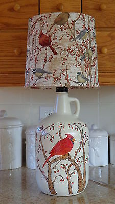 Folk Art Table Lamp (Hand-Sketched-Hand-Painted Cardinal on Bottle; Bird Shade)