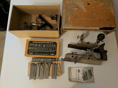 VERY EARLY Stanley #45 Plow Combination Plane with Cutters and Box
