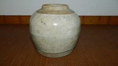 Rare 1700s Chinese Celadon Ginger Jar Pot Glazed & Matte pottery
