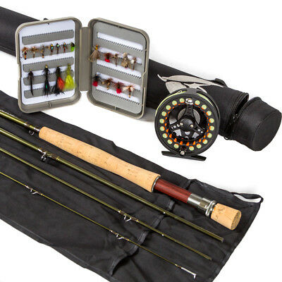 Fly Rod Reel Line and Box of 25 Flies Combo