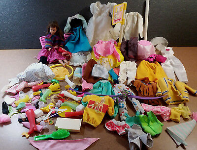 1963 Skipper Doll & Mixed Lot of Doll Clothing, Shoes, and Accessories Barbie