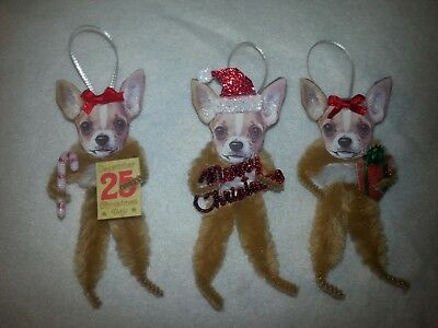 Vtg Style Christmas Chihuahua Dog 3 Boxed Ornaments Feather Tree