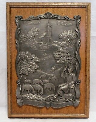 Vintage Pewter Plaque On Oak Board - German Shepherd & Sheep