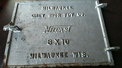 Vintage Cast Iron Chimney Furnace Door Cover, Milwaukee Grey Iron Milcast, Sign