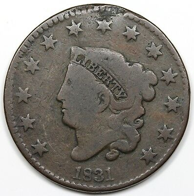 1831 Coronet Head Large Cent, Large Letters, G+ detail