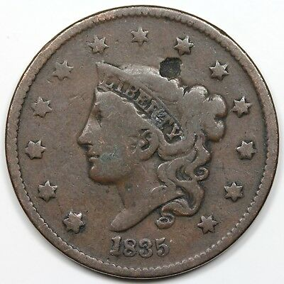 1835 Coronet Head Large Cent, Head of '36, VG+ detail