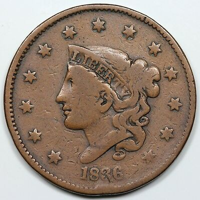 1836 Coronet Head Large Cent, VG+ detail