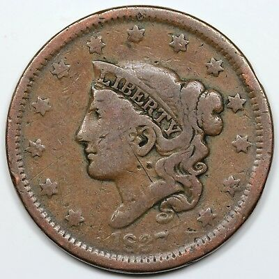 1837 Coronet Head Large Cent, Beaded Cords, Small Letters, VG+ detail