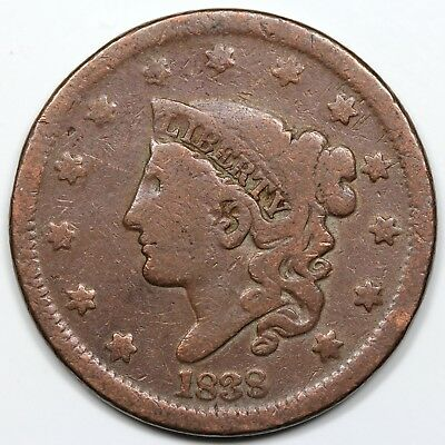 1838 Coronet Head Large Cent, VG detail