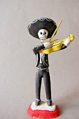 Mexican Folk Art Pottery Day of the Dead Mariachi Violinist Skeleton Figurine, 6