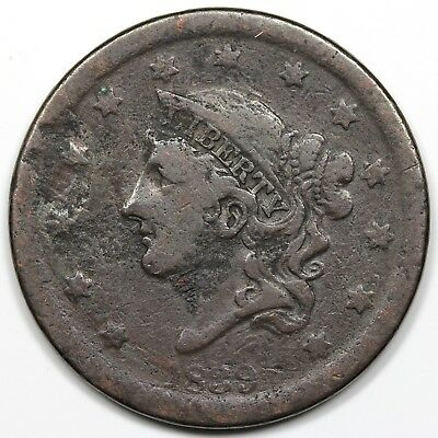 1839 Coronet Head Large Cent, Silly Head, VG-F detail
