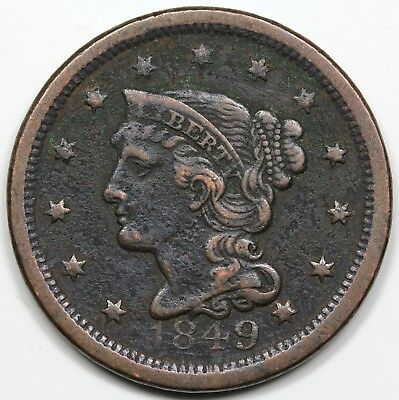 1849 Braided Hair Large Cent, XF detail