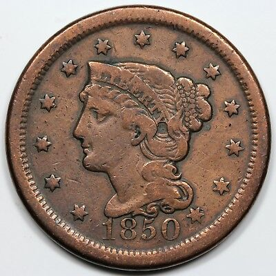 1850 Braided Hair Large Cent, F detail