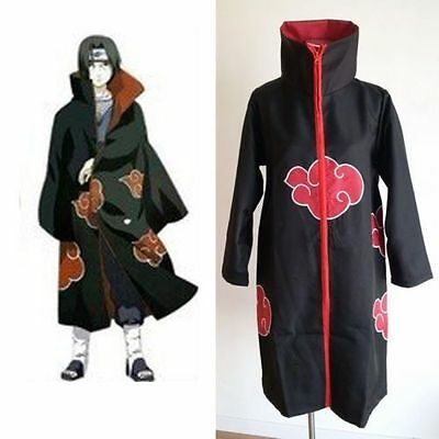 Blood Red Naruto AKATSUKI ROBE Cloak Uchiha Itachi Cosplay Costume Halloween M
