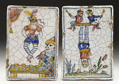 Rare Pair Antique Italian Maiolica Tiles With Entertainers Early 19Th C