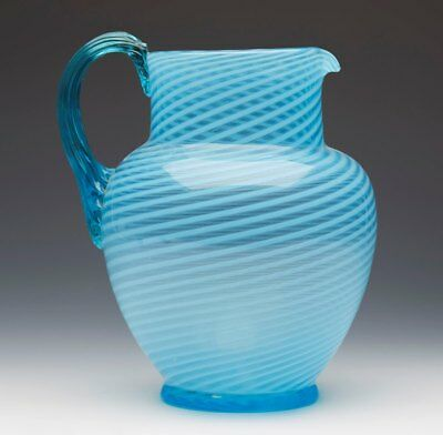 Antique Blue Ribbon Trailed Art Glass Jug C.1870-1887