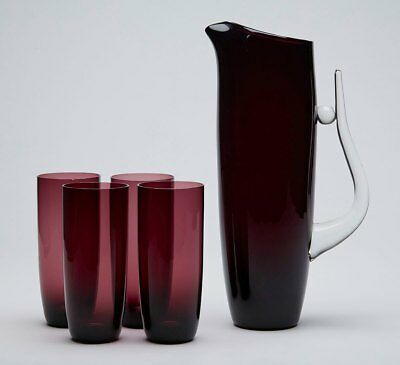 Contemporary Art Amethyst Jug And Glasses 20Th C