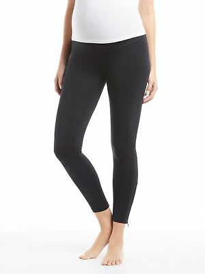 NWT David Lerner Black Maternity Zipper Leggings - Stretchy High Rise Panel New