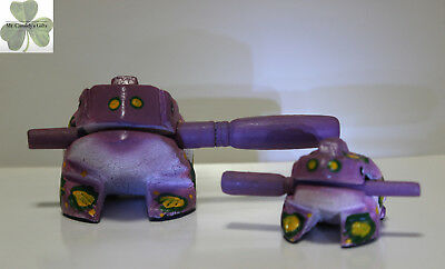 "2 Frogs, Guiro Rasp,Wooden Musical Toy, Purple with Green/Yellow Spots 2"" and 4"""