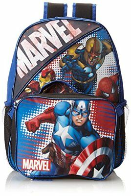 Marvel Little Boys' Heroes Backpack with Lunch Box Multi One Size